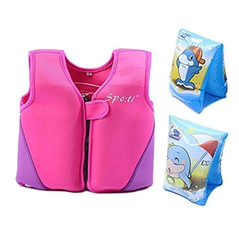 Child's Swim Small Life Vest 18 Month - 2 Years Colour Pink include Swim Arm Band (Life Vests 5x)