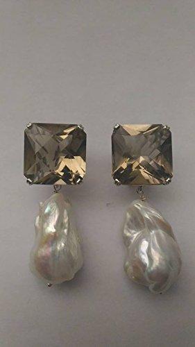 25a3e2e5fb9f grandes pendientes con cuarzo ahumado y perlas barrocas  Amazon.es ...