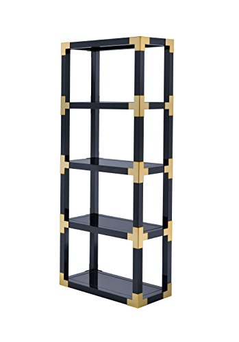 Lalfy Etagere Bookcase in Gold, Black High Gloss, Black Mirror by HomeRoots Office