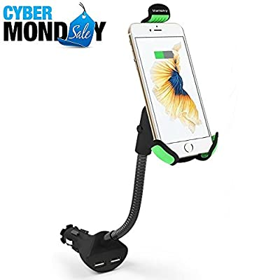 Vansky Car Phone Mount, Gooseneck Car Charger Holder Cradle Mount with Dual USB 3.1A Charging Ports for iPhone 7 Plus/7/6/6S/6 Plus,Samsung Galaxy S5/S6/S7/S8, Google Nexus, Huawei