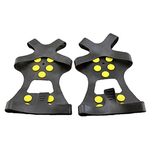 Traction Universal Slip-on Stretch fit Snow Ice Spikes Rubber Spikes Grips Cleats 10-Stud Crampons M,L (Large)