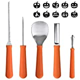 Halloween Decorations, OTBBA 5 Piece Halloween Pumpkin Carving Tool Kit With 10 Carving Stencils DIY Halloween Jack-O-Lantern For Pumpkin Party Decorations