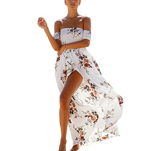 Blackless Mode Buy Floral imprim bretelles Go mignon Go Maxi Dress Go Summer fminine Beach paule Blanc hors Split Value A6qgIwxdq