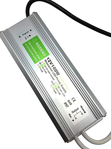 Aoile 12V IP67 Waterproof LED Power Supply Aluminum Alloy Transformer AC110 to 12 Volt DC Output -