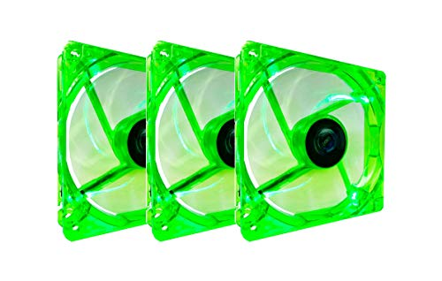 Apevia CF312SL-UGN 120mm 4pin Molex + 3pin Motherboard Silent Green LED Case Fan (3-pk) (Best Minecraft Speed Build)