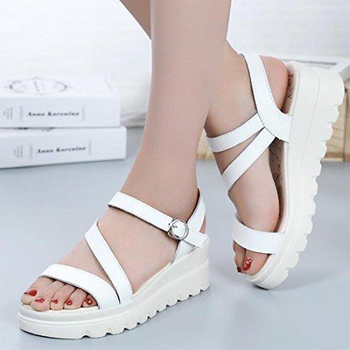 Moda Plataforma Sandalias Cuero De De Mujer De White Sandalias De De Verano Sandalias De Vestir wxfaYS8x