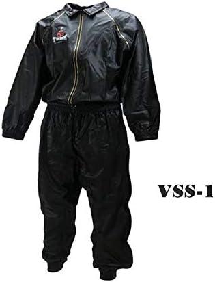 Twins VSS-1 Vinyl Sweatsuit Black Muay Thai Kickboxing Training Workout Running