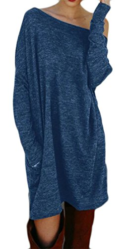 CMC Solid Sleeve Pockets Mini Loose With Dress Tunic Fit Top Long Women's Blue 1rq1xBTw
