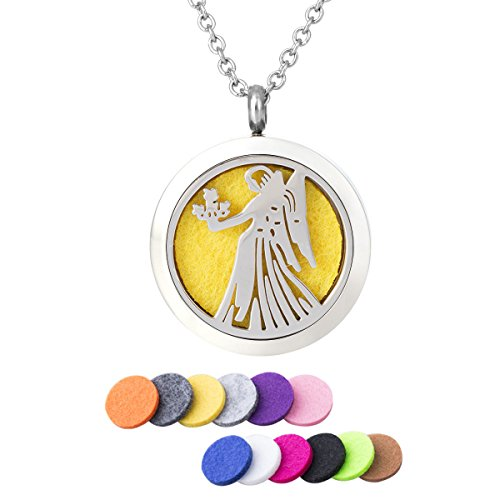 Fragrance Essential Oil Angel Goddess Pendant DIY Aromatherapy Stressed Necklace Diffuser Therapy Locket