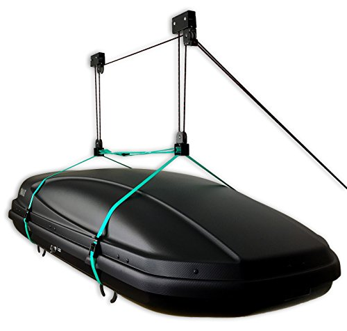 StoreYourBoard Cargo Box Ceiling Storage Hoist | Rooftop Carriers Hi-Lift Pro Garage Pulley Hanger Rack