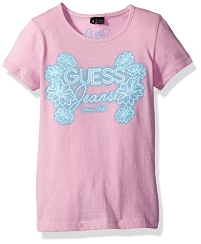 GUESS Little Girls' Short Sleeve T-Shirt, Melrose Lavender, (Little Kids Lavender Apparel)