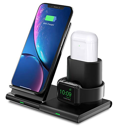 Seneo Wireless Charger, 3 in 1 Wireless Charging Dock for Apple Watch, Airpods, Detachable and Magnetic Charging Station, Wireless Charging Stand for iPhone X/XS/XR/Xs Max/8/8 Plus and other Qi Phones