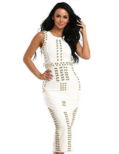 Hego Women's Sleeveless Beaded Long Bandage Bodycon Maxi Dresses HL166