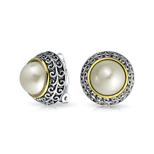 (Bali Style Two Tone White Simulated Pearl Dome Clip On Earrings For Women Non Pierced Ear Silver Gold Plated)