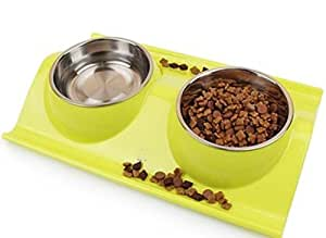 De Doble Uso Cuencos Tazas De Gato De Acero Inoxidable Doble Tazón A Prueba De Fugas Plato Del Perro De La Cuenca Alimentos Para Mascotas,Green