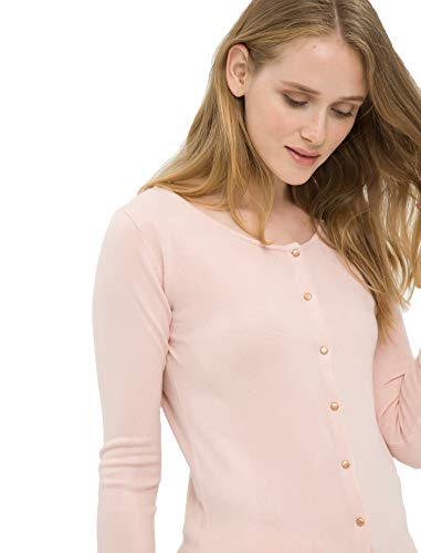 Cashmere Like Cardigan Sweater - Such a Cliché Womens Cardigan - Cashmere-Like Long Sleeve Buttoned Fashion Cardigan (XS, Rose)