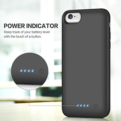 Battery Case for iPhone 6S / 6, Gixvdcu 6000mAh Rechargeable Protective Portable Charging Case for Apple iPhone 6 & 6S (4.7 Inch) Extended Charger Pack Power Bank - Black by Gixvdcu (Image #3)