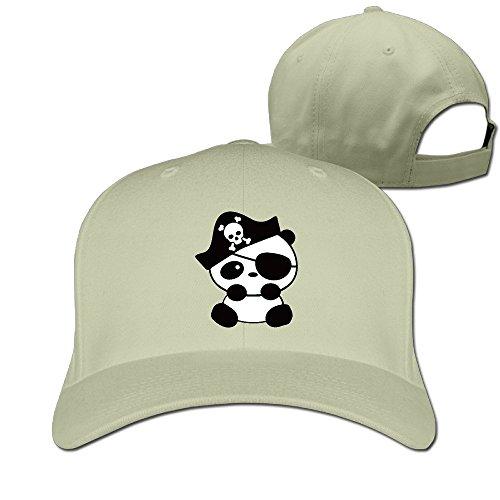 Animal Panda Cartoon Pirate Peaked Baseball Snapback Unisex Cap Natural (Cartoon Pirate Hat)