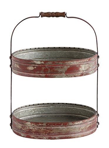 (Creative Co-op Casual Country Two-Tier Red Tray, Distressed, 2 Piece)