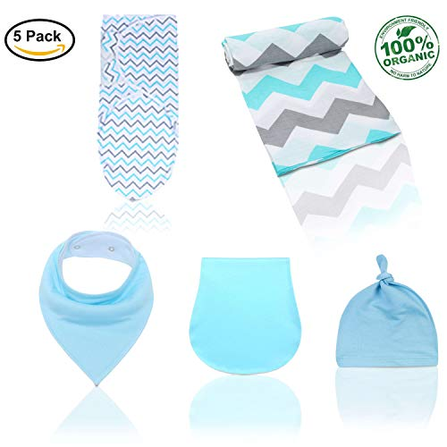 (Kiddytopia Quality 5-Pack Set Adjustable Infant Wrap Sleeping Bag Muslin Newborn Baby Swaddle Receiving Blanket 100% Cotton with Hat & Bandana Drool Bib for Drooling and Teething & Burp Cloth)