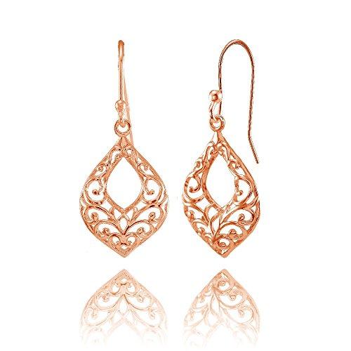 Rose Gold Flashed Sterling Silver Open Teardrop Filigree Dangle Earrings ()
