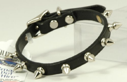 "Auburn Leather Black Pet Dog Collar Spiked 10""-12"""