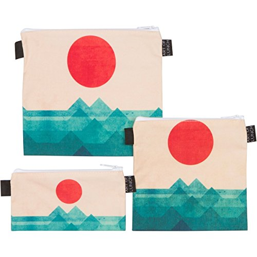 Reusable Sandwich & Snack Baggies by ART OF LUNCH - Set of 3 Designer Sandwich Bags - A Partnership with Artists Around the World - Design by Budi Kwan (Indonesia) - The Ocean, the Sea, the Wave