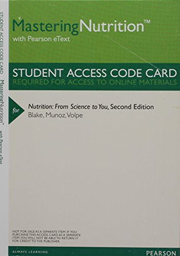 MasteringNutrition with MyDietAnalysis with Pearson eText -- ValuePack Access Card -- for Nutrition: From Science to You