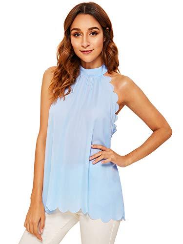 MAKEMECHIC Women's Sleeveless Halter Neck Tank Self Tie Scallop Blouse Top Light Blue S