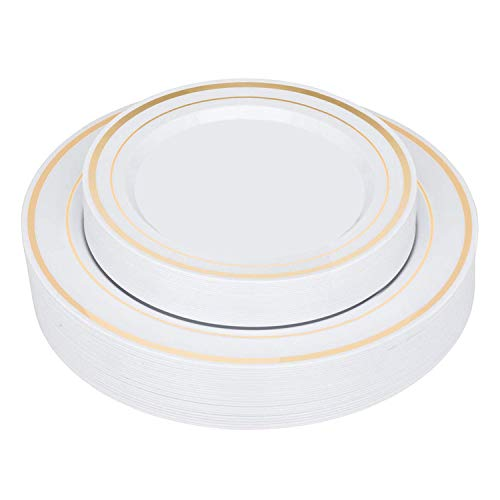 Elegant Gold Rim Plastic Plates (50 Pack) Heavy Duty Plastic Dinnerware - Fancy Disposable Plates for Weddings and Parties - Set Includes 25 Dinner Plates and 25 Salad Plates (Gold Rimmed)