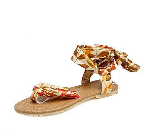 La Mujer Plano Sandalias Tobillo Del Yellow Bohemio amp;x De Tacón Qin fOqwB5n