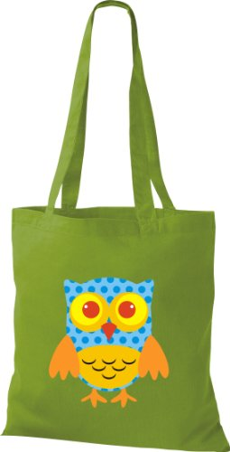 Stoffbeutel Bunte Eule niedliche Tragetasche mit Punkte Owl Retro diverse Farbe lime