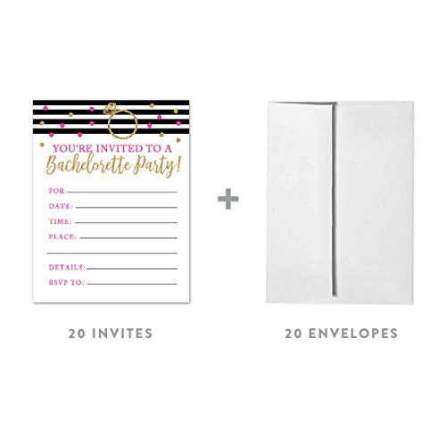 Black White Invitations - Andaz Press Black, White, Hot Pink, Gold Glittering Bachelorette Party Bridal Shower Collection, Blank Bachelorette Invitations with Envelopes, 20-Pack
