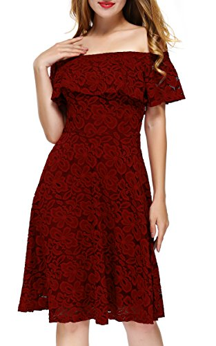 DKBAYA Midi Cocktail Sexy Lace A Petite Wedding line Size Off Wine Womens Red1 Vintage Dress Shoulder rrFaTqU
