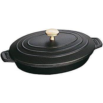 Staub 1332325 Cast Iron Oval Covered Baking Dish, 9x6.6-inch, Black Matte