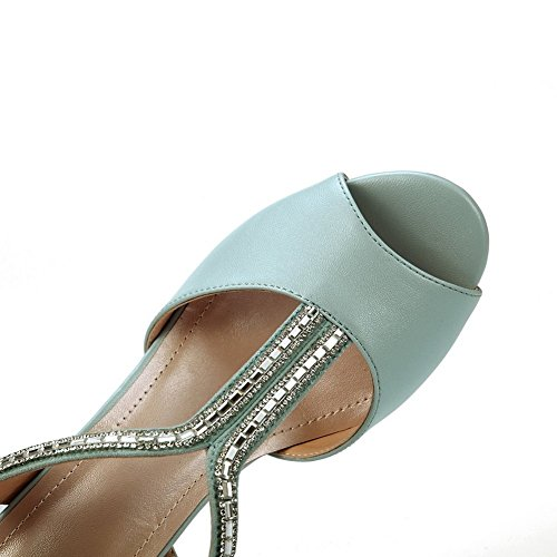 Womens Material Heels 1TO9 Rhinestones Studded Blue Kitten Heel Soft Sandals 1wccaqdSn
