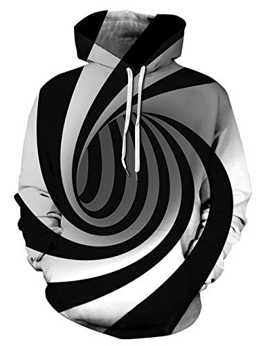 Goodstoworld Unisex Realistic 3D Digital Print Hoodies Black White Circle Adults Cool Pullover Hoodie Casual Teen Girls Boys Party Hooded Sweatshirt School Party Clothes with Pockets