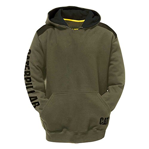 - Caterpillar Logo Panel Hooded Sweatshirt, Army Moss, Medium
