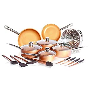 19 Pcs Copper Cookware Set including Non-Stick Frying Pan, Saucepot, Saucepan, copper knife set kitchen cooking tools frying pan with Ceramic Coating induction base with lids