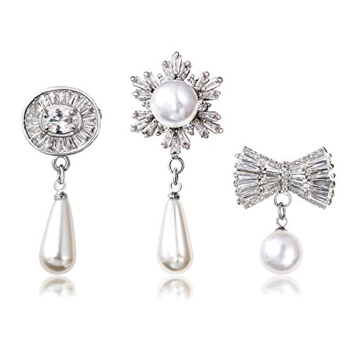 Dress Butterfly Brooch (Jovivi 3pcs Clear Cubic Zirconia Crystal Silver Flower Oval Butterfly Safety Pin Brooches Suit Sweater Scarves Scarf Brooch Charm)