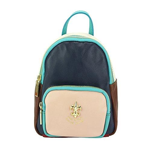 marron rose Veritable À De En Sac Bleu Cuir Dos 9012 Alessia Market Leather Vachette Florence wq10O66