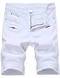 K3K Casual Mens Ripped Shorts Destroyed Distressed Slim Fit Denim Jeans