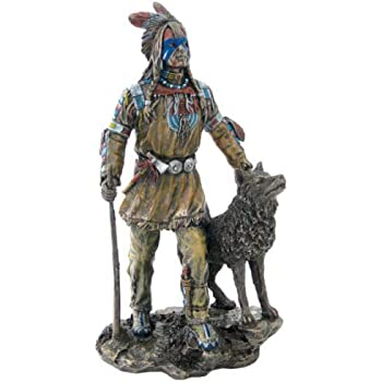 Bronze Design Toscano Kneeling Indian with Drawn Bow Statue