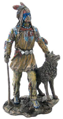 Native American Plains Indian w/ Wolf and Rifle Statue Sculpture
