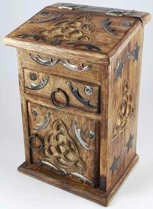 Wooden Cupboard - AzureGreen FBWB436 Triquetra Herb Cupboard