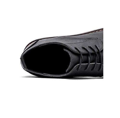 in Black Morbido Nastro Uomo Punta Stivali Tondo Colore Sportivi Affari Sandali Tela A Scarpe Stagione Pelle Casual qSgw5