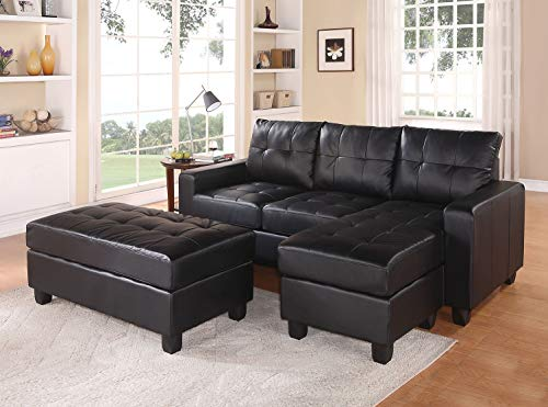 ACME Lyssa Black Bonded Leather Sectional Sofa with Reversible Chaise and Ottoman (Manhattan Sofa Sectional)