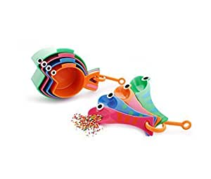 chéri d'amour Cute Fish Measuring Cups & Spoons Set – Stackable Animal Set for Kids & Adults Measures Dry and Liquid Ingredients Kitchen Gadget for Baking Cooking, BPA Free Dishwasher Safe