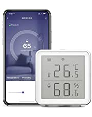 Leeofty Thermometer en hygrometer, draadloos, wifi smart temperatuur-vochtigheidssensor, compatibel met Alexa 230ft ultralange afstanden, draadloze digitale hygrometer, binnenthermometer, hygrometer