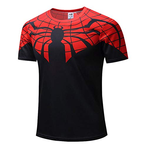 PKAWAY Cool Printed Tee Red Black Spider Short Sleeve Polyester Shirts XL ()